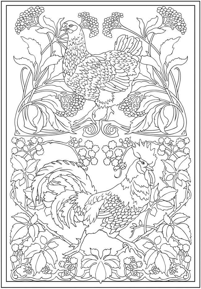 Art Nouveau Animal Designs Colouring Book ISBN 9780486493107