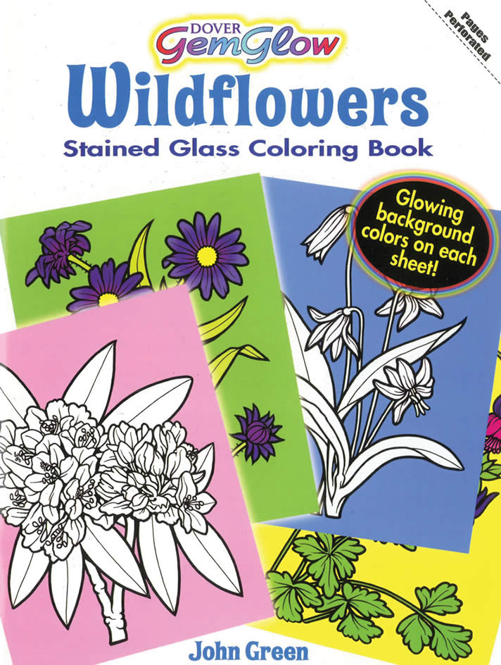 GemGlow Wildflowers Stained Glass Coloring Book ISBN 9780486471488